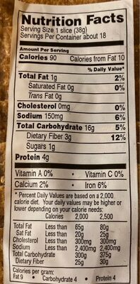 Pain mie complet - Nutrition facts