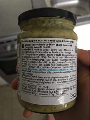 Moutarde and dill sauce - Nutrition facts