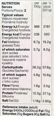 Stonebaked pizza double cheese & ham - Nutrition facts - fr