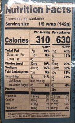 tuna salad wrap - Nutrition facts