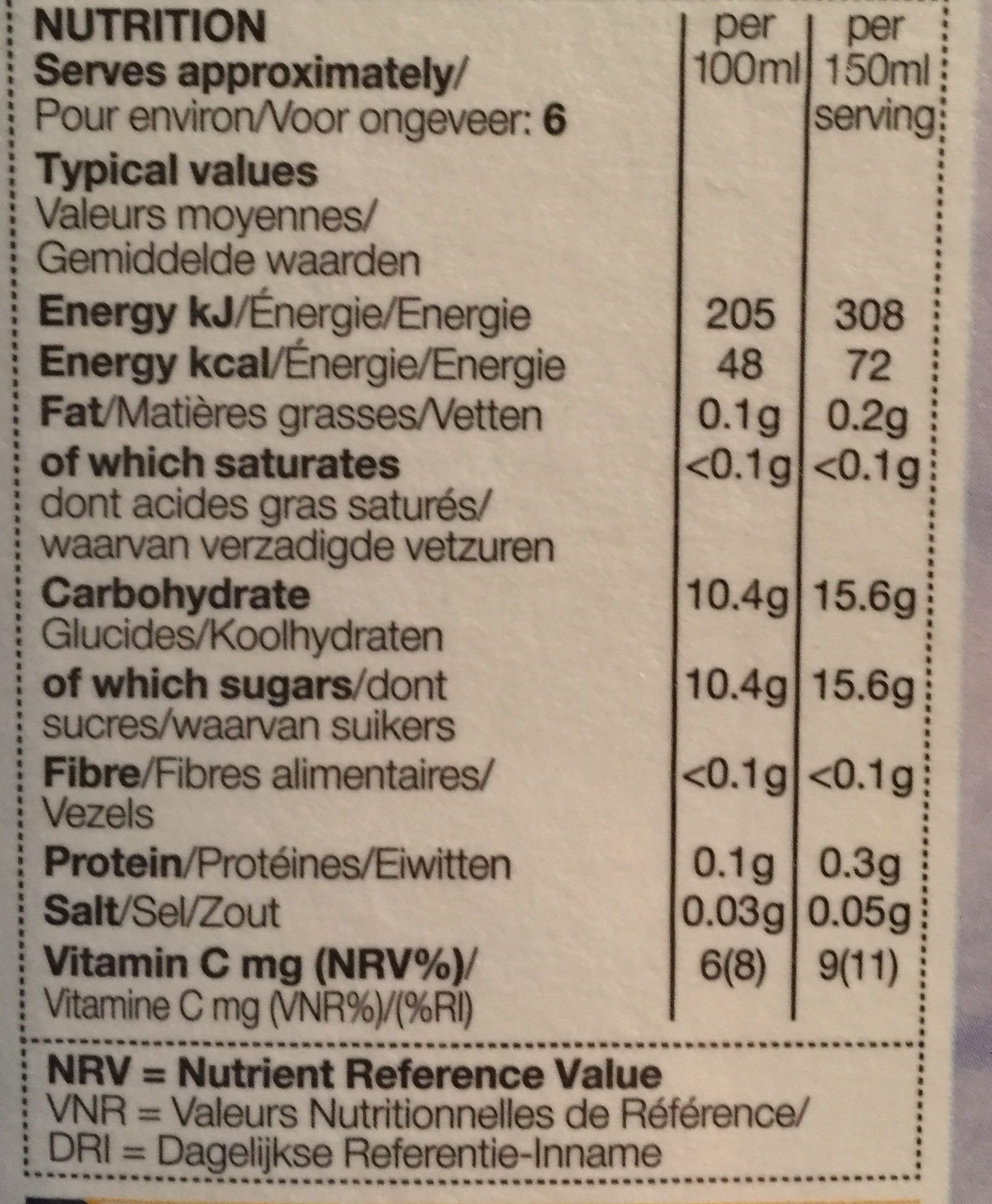 Pressed British Apple Juice - Nutrition facts