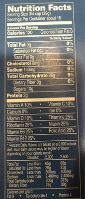 Corn cereal - Nutrition facts - en