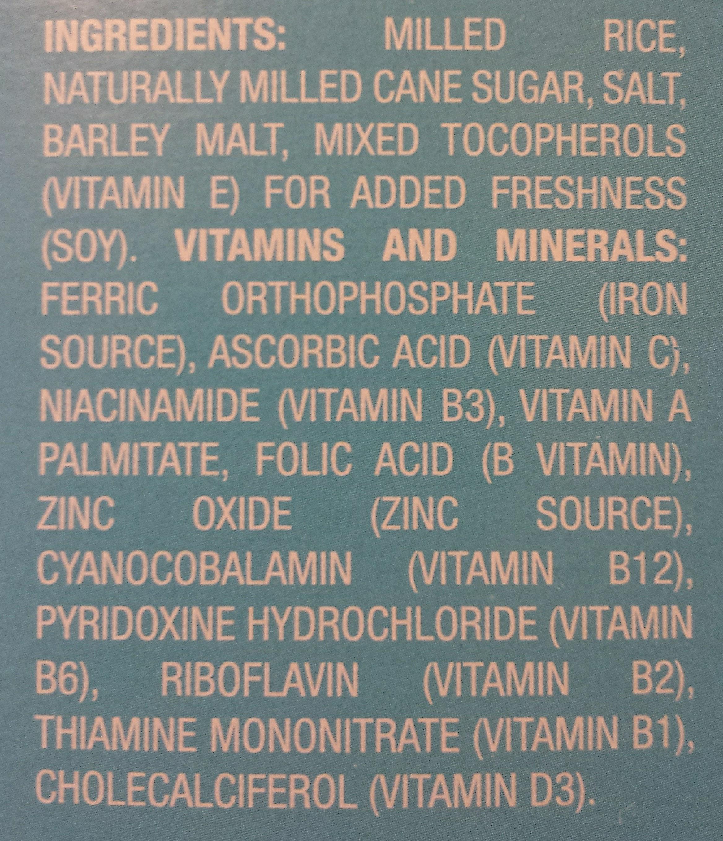 Crisp Rice Cereal - Ingredients