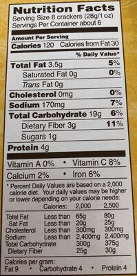 Multigrain pita bite crackers - Nutrition facts - en