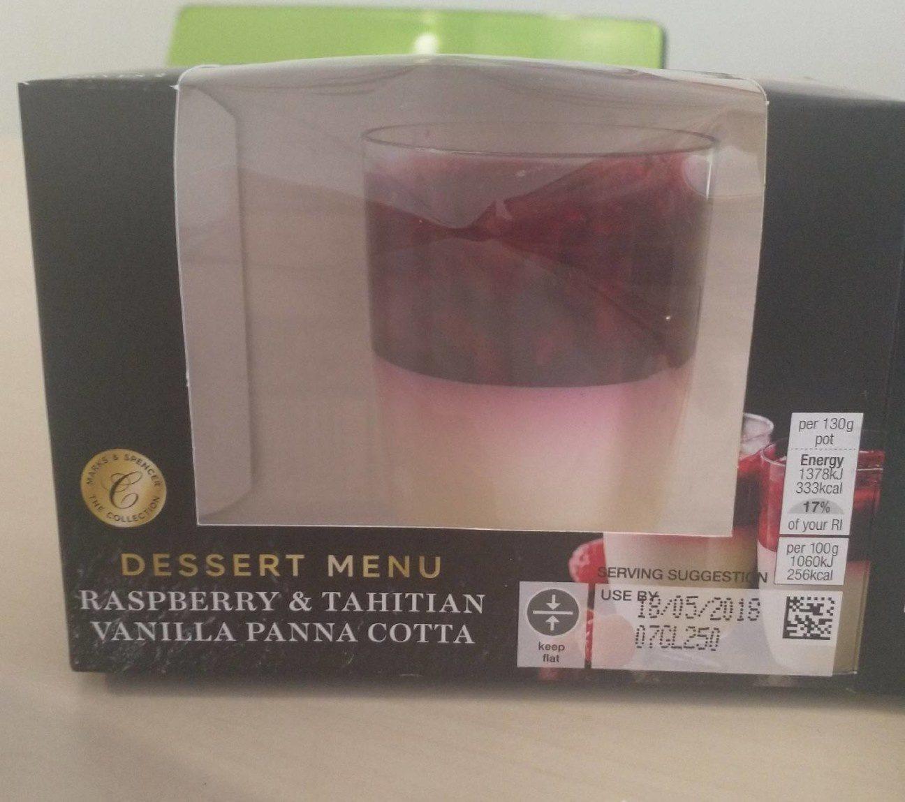 Raspberry & Tahitian Vanilla Panna Cotta - Product - fr
