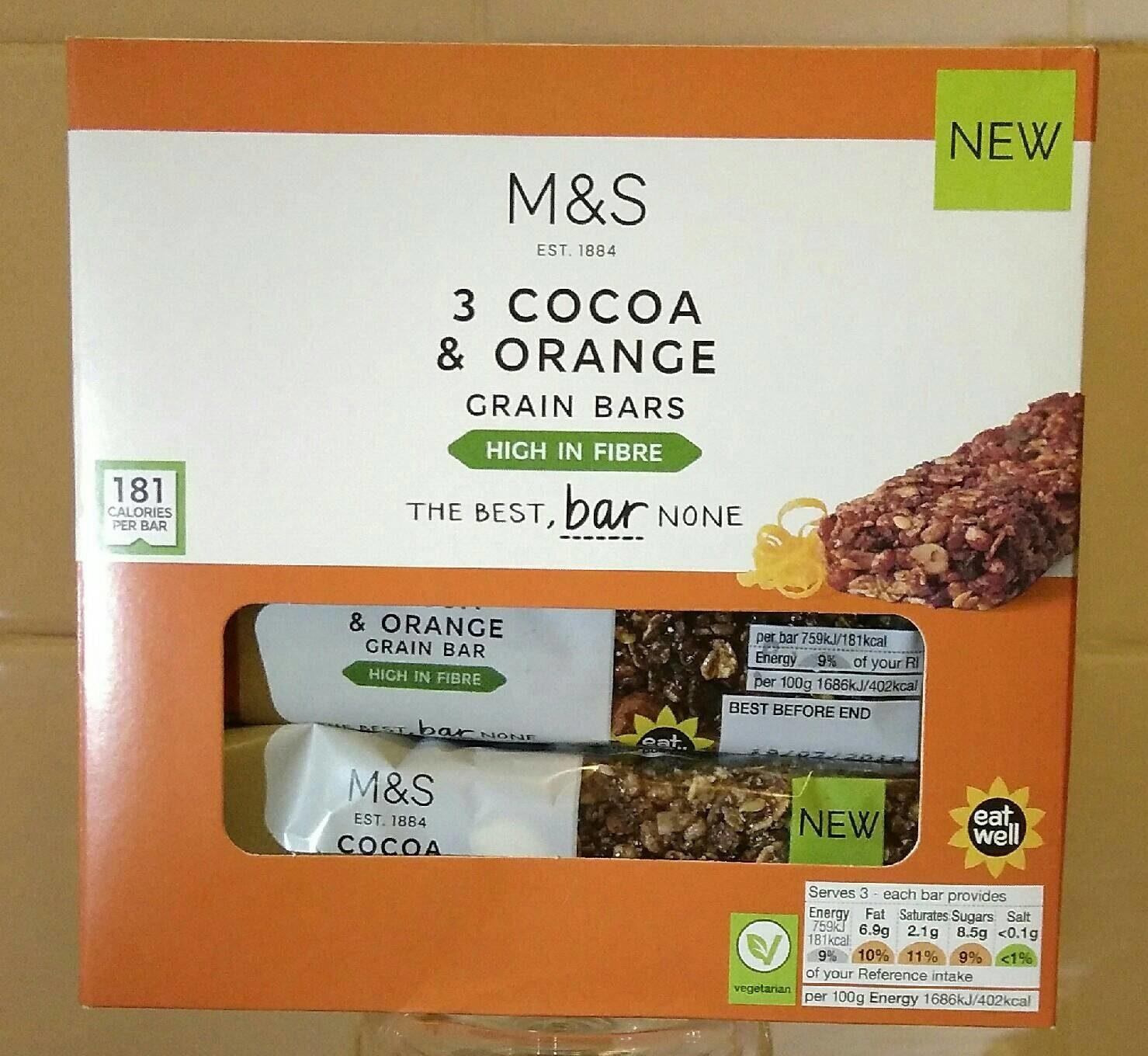 3 Cocoa & Orange Grain Bars - Product - fr