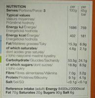 3 Cocoa & Orange Grain Bars - Nutrition facts - fr