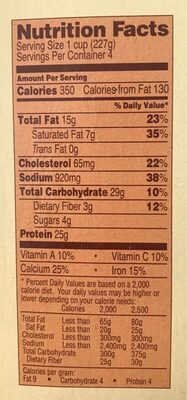 Family style meat lasagna - Nutrition facts - en