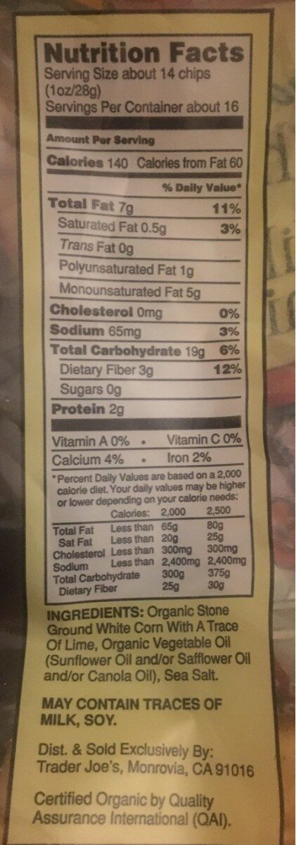 Organic white corn tortilla chips - Nutrition facts