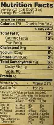 Peanut Butter Chewy Coated & Drizzled - Nutrition facts