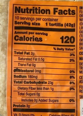 Organic Wheat and Corn Flour Tortillas - Nutrition facts - en