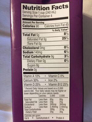 Coconut beverage - Nutrition facts - en