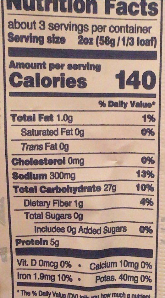 Ciabatta - Nutrition facts - en