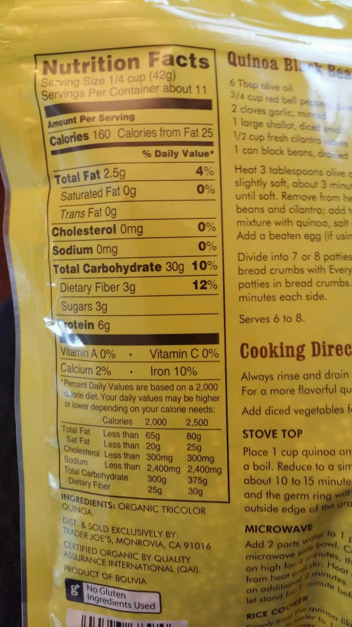 Cooked quinoa nutrition facts