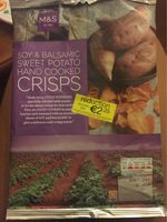 Soy and balsamic sweet potato hand cooked crisps - Product