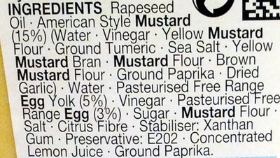 American Mustard Mayo - Ingrédients