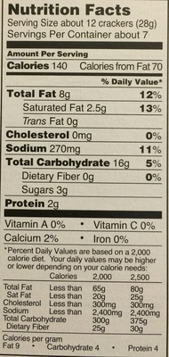 Organic mini cheese sandwich crackers - Nutrition facts