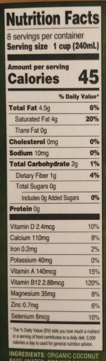 Coconut beverage - Nutrition facts