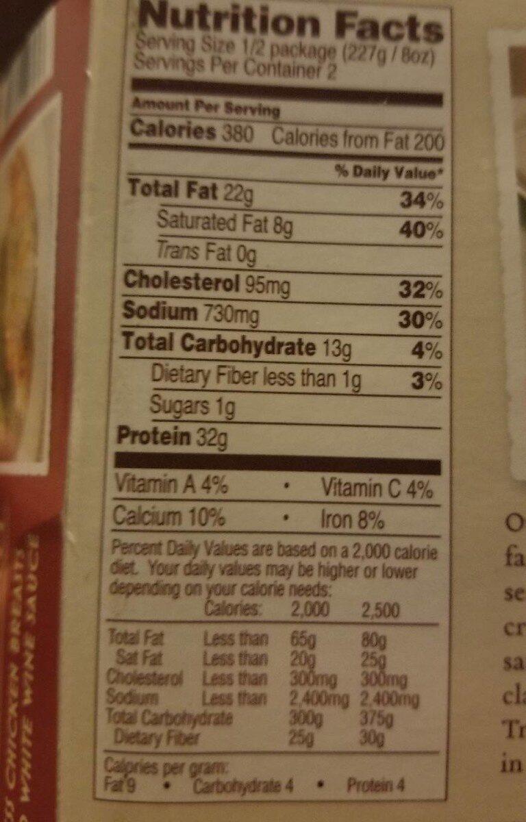 Chicken Piccata - Nutrition facts - en