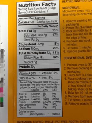 Cannelloni epinards - Nutrition facts - en