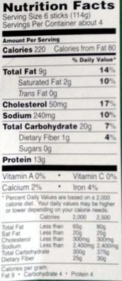 Fish Sticks - Nutrition facts