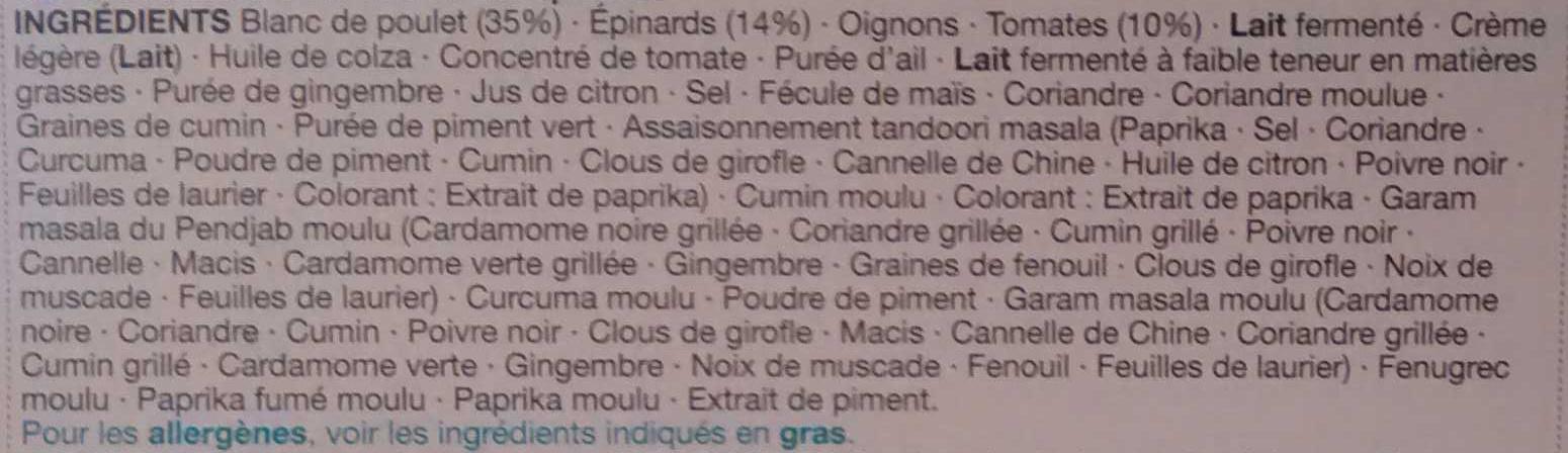 Chicken Saaq Masala - Ingredients - fr