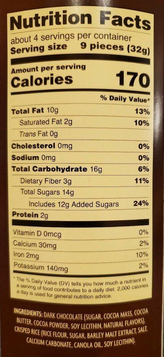 Dark Chocolate Crisps - Nutrition facts - en