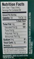KALAMATA EXTRA VIRGIN OLIVE OIL - Nutrition facts - en