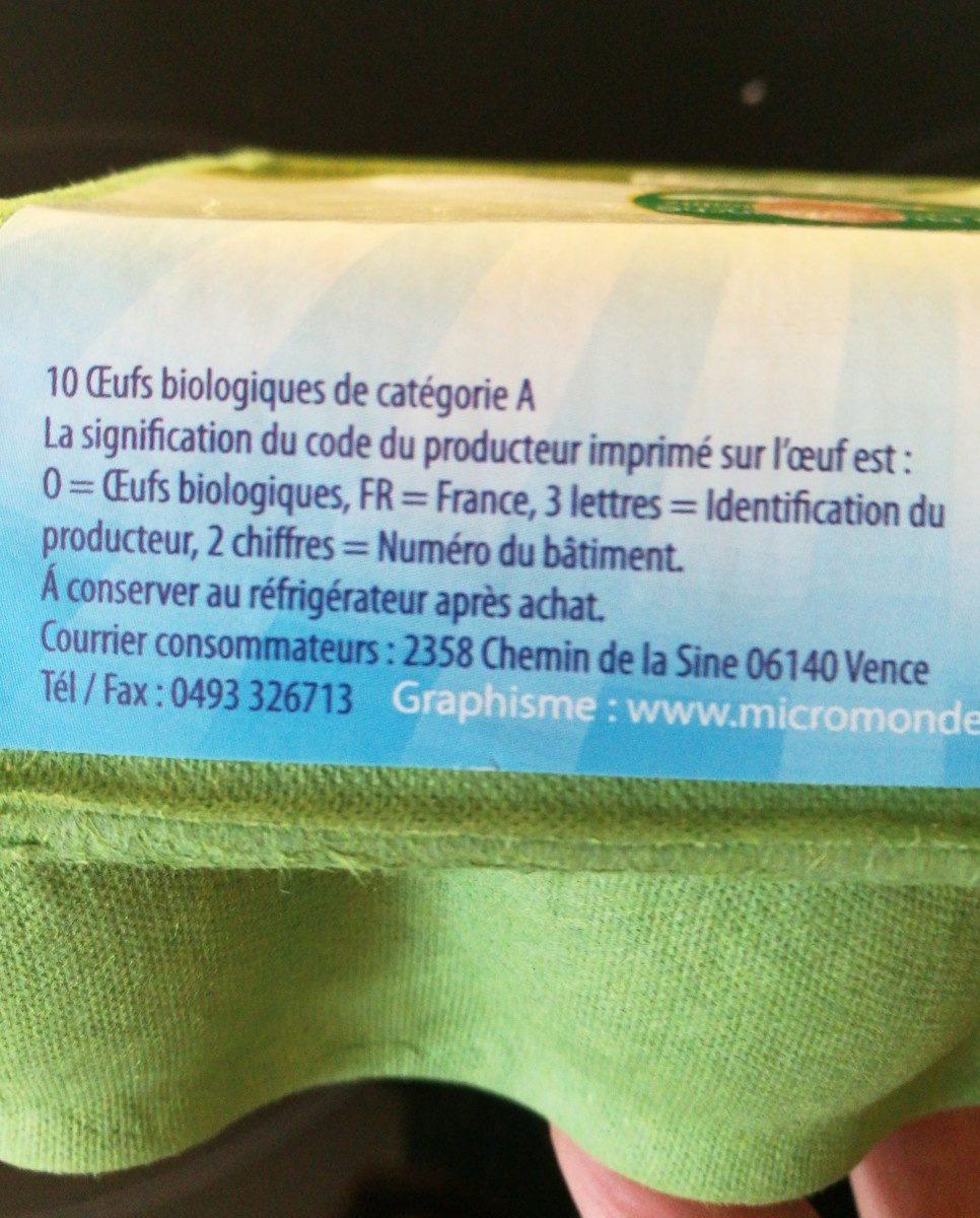 Gros œufs bio français élevé en plein air - Ingrédients - fr