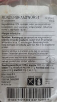 Runder Braadworst - Ingredients - en