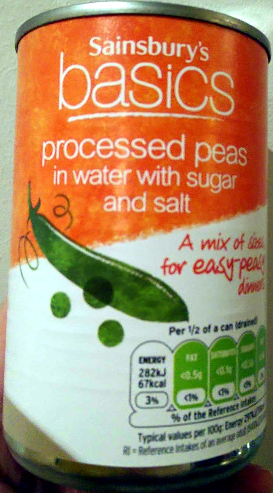 Processed peas in water with sugar and salt - Product - en
