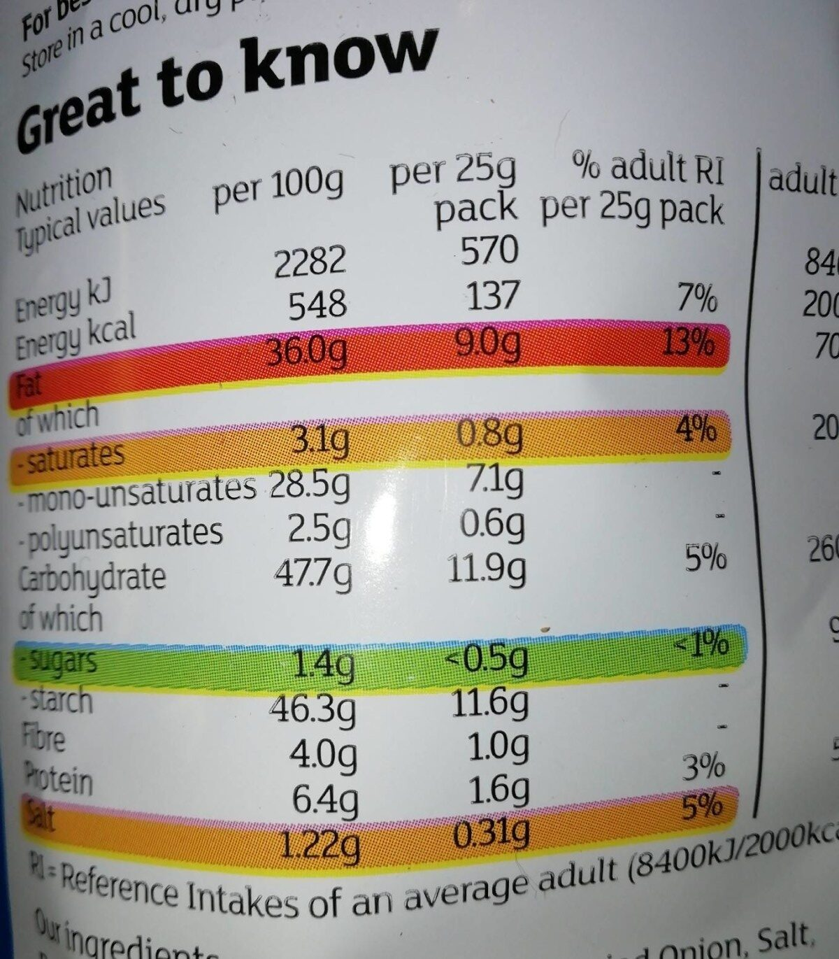 Cheese & onion - Nutrition facts - en