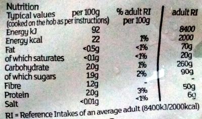 Courgettes - Informations nutritionnelles - en
