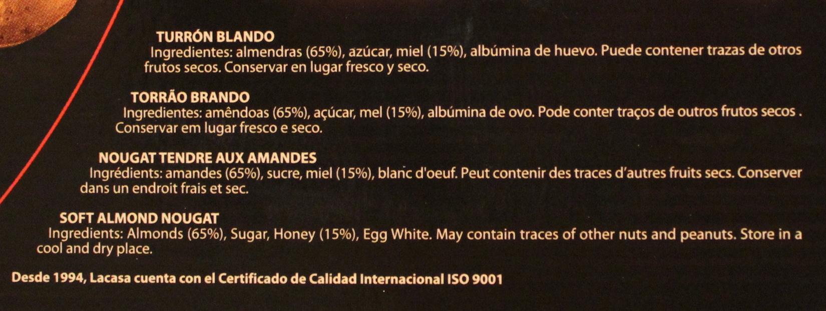Turrón blando - Ingredientes - es