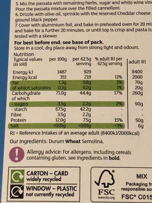 Cannelloni - Voedingswaarden