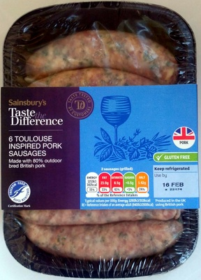 6 toulouse inspired pork sausages - Produit - en