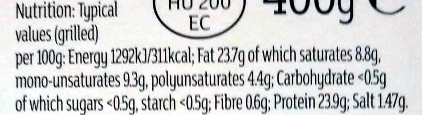 6 toulouse inspired pork sausages - Informations nutritionnelles - en