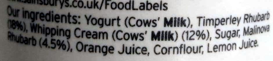 Timperley Rhubarb West Country Yogurt - Ingredients - en