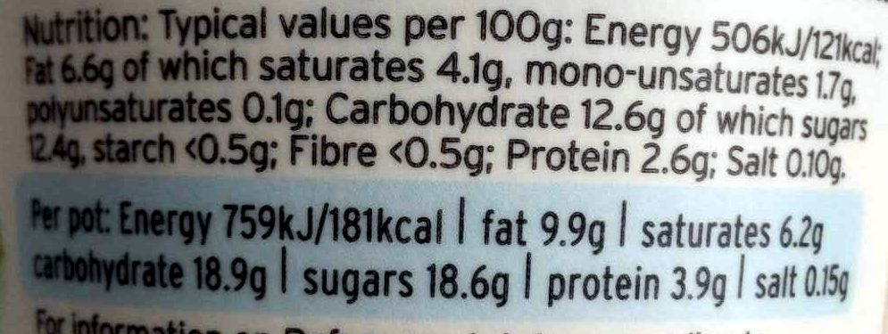 Timperley Rhubarb West Country Yogurt - Nutrition facts - en