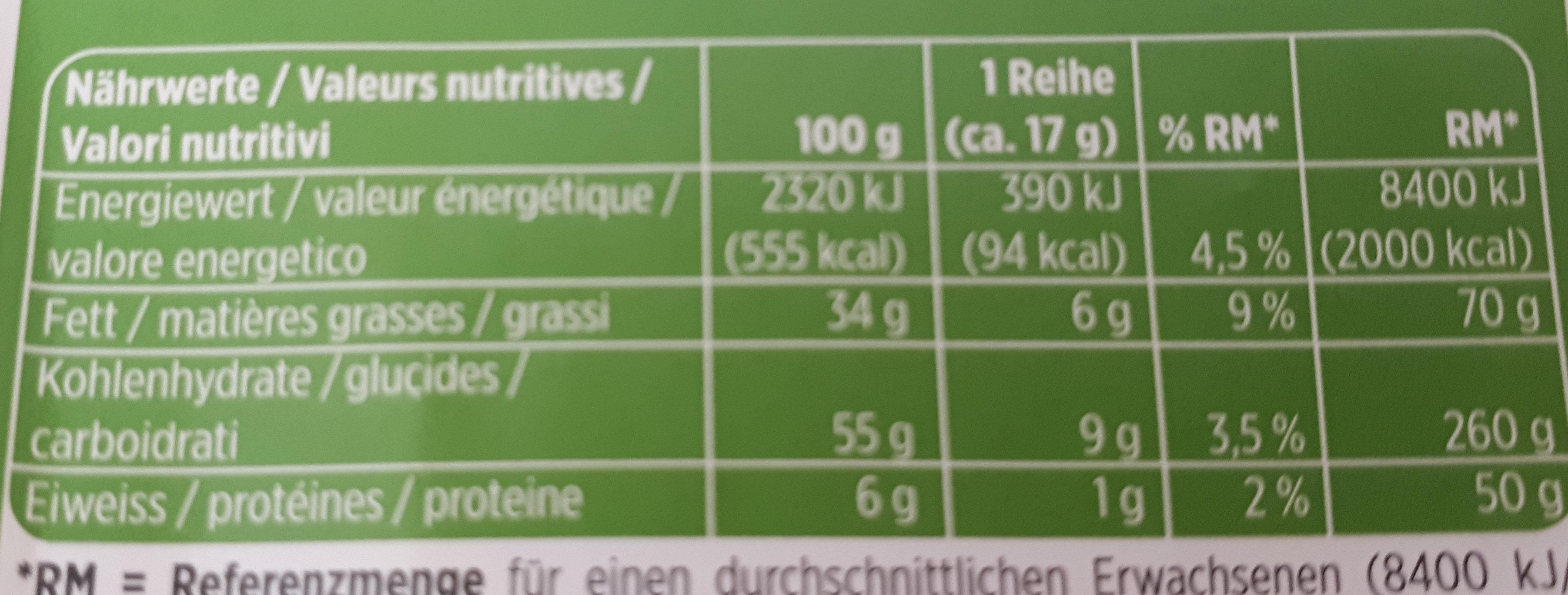 haselnuss noisettes nocciole - Informations nutritionnelles