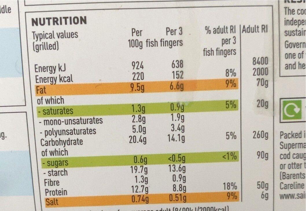 10 breaded cod fish fingers - Informazioni nutrizionali - en