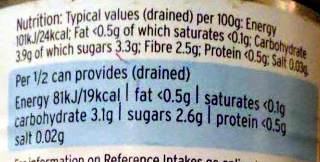 Sliced carrrots in water - Informations nutritionnelles - en