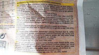 4 escalopes de dinde à la viennoise panées - Ingredients - fr