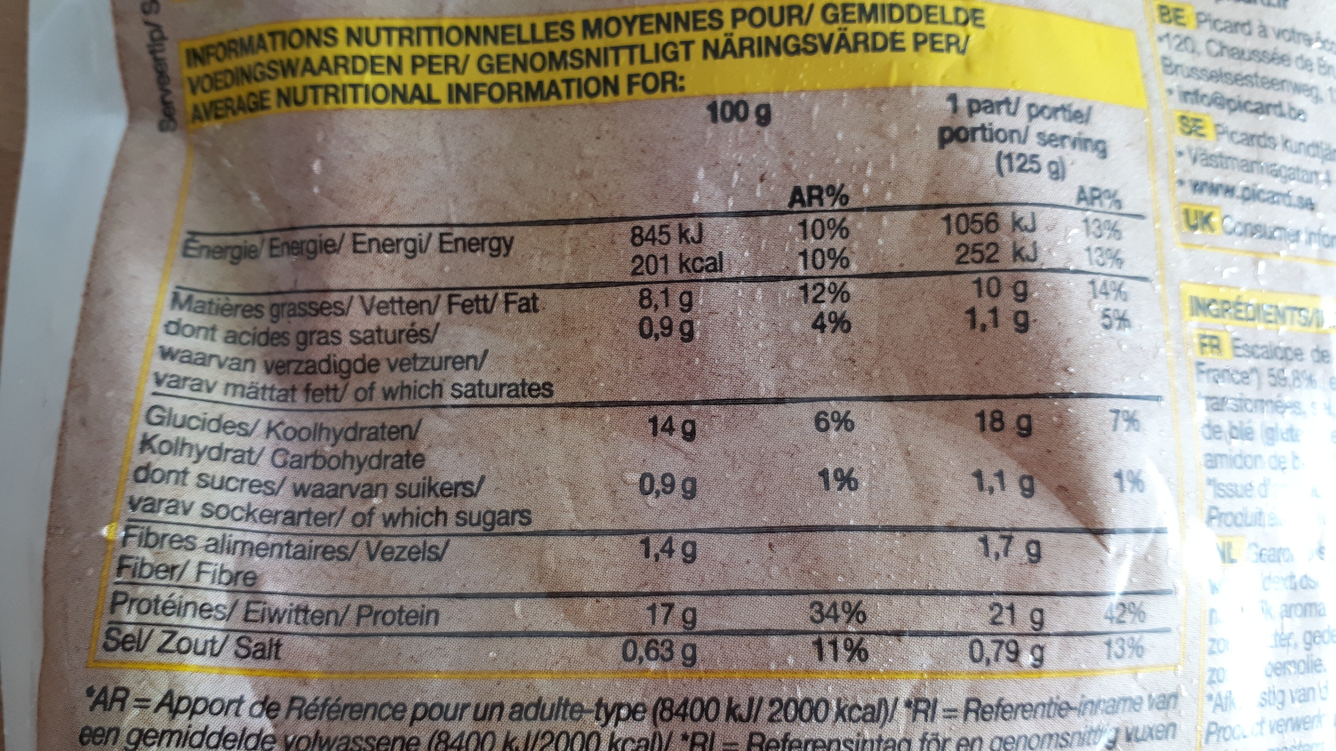 4 escalopes de dinde à la viennoise panées - Nutrition facts - fr