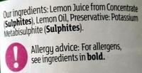 Lemon Juice - Ingrédients