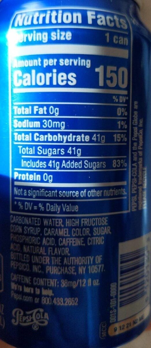 Pepsi Cola - Nutrition facts