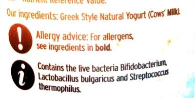 Greek style natural yogurt - Ingrédients - en