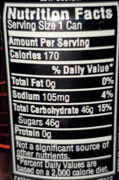 mountain dew code red - Nutrition facts - en