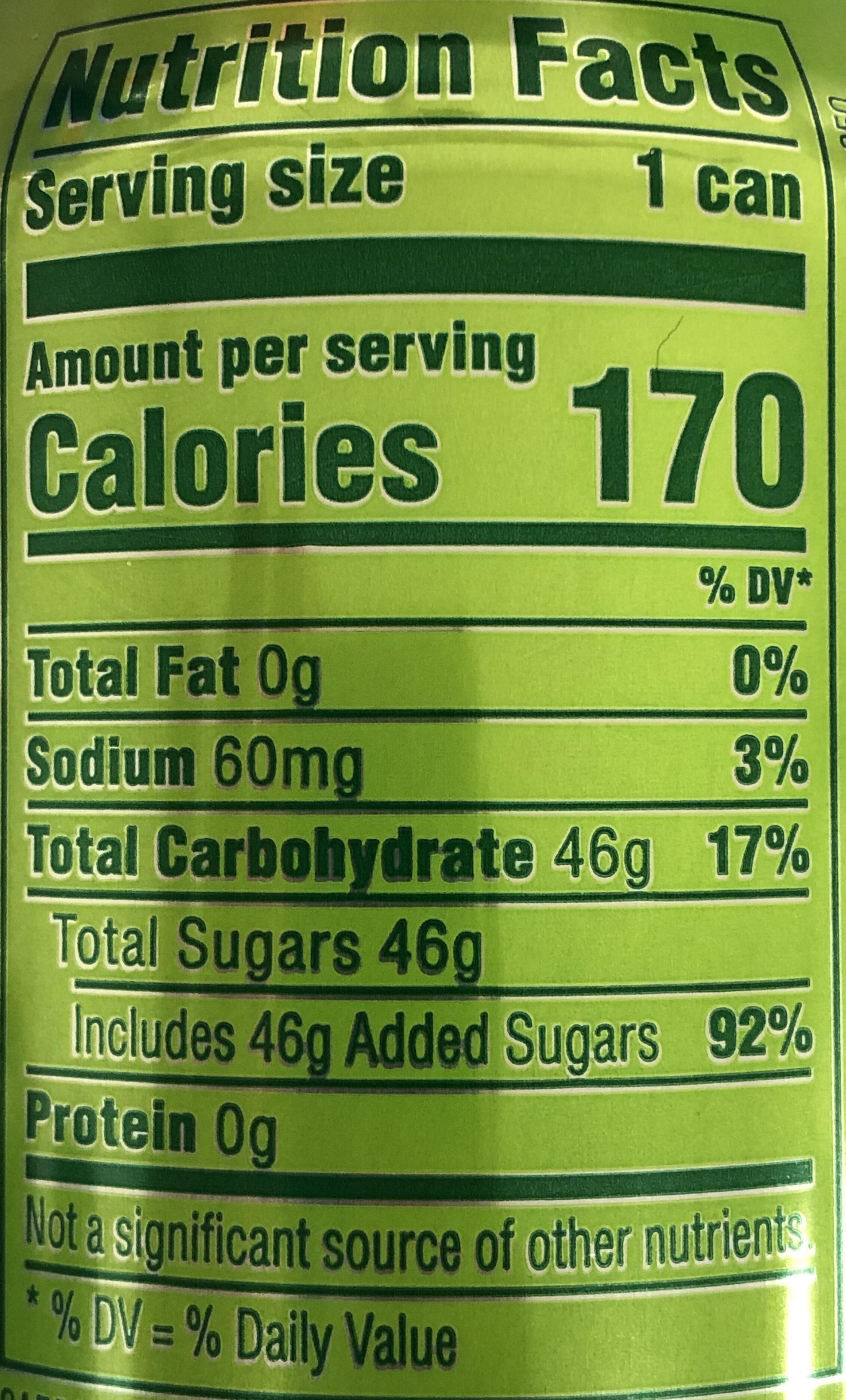 Mountain Dew - Nutrition facts - en