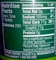 Mtn Dew - Nutrition facts